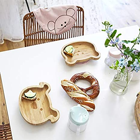 L/ÄSSIG Assiette en bois pour assiettes Assiette en bambou pour enfants avec ventouse en silicone Little Chums Cat