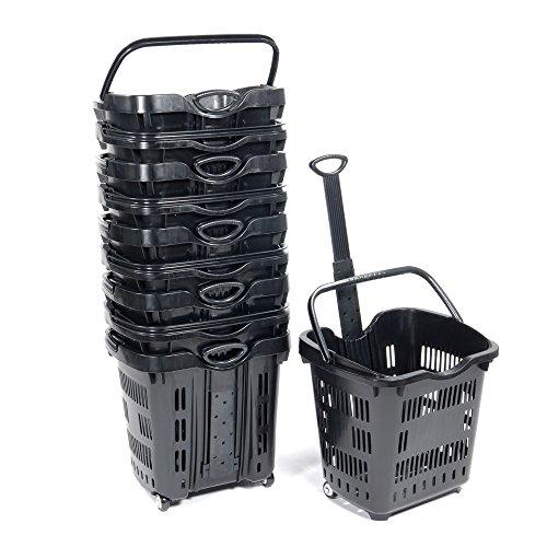 Set of 10 Black Plastic Rolling Shopping Basket 18 3/4''W x 15 3/4''D x 18 1/2''H by Rolling basket