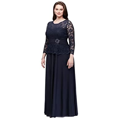 eafc3922c6 Plus Size Allover Glitter Lace Mother of Bride Groom Dress with Long  Sleeves Style 757727D