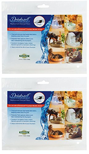 (2 Pack) PetSafe Drinkwell Replacement Premium Carbon Filters (Each Pack Contains 3 Filters / 6 Filters Total)