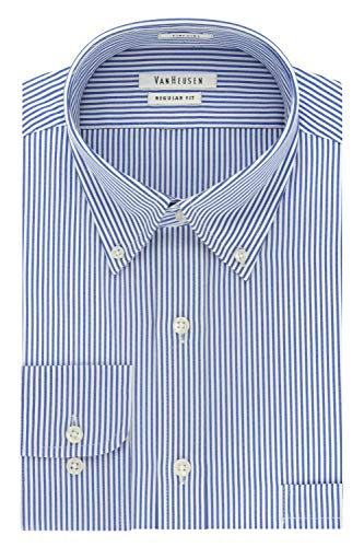 Van Heusen Men's Pinpoint Regular Fit Stripe Button Down Collar Dress Shirt, Blue, 17.5