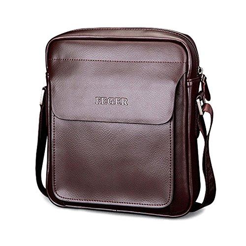 (Mufly Men's Genuine Leather Shoulder Bag Handmade Messenger Briefcase Crossbody Handbag Ipad Bag (Brown))