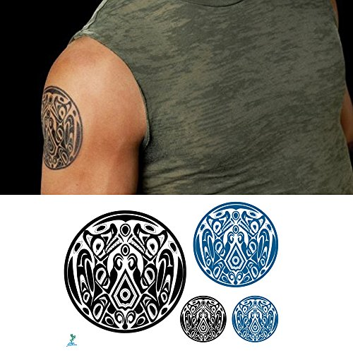 (Yeeech Temporary Tattoos Wolf Pack for Men Waterproof America Traditional Geometric Shapes Jacob Gang Small Long Lasting Black Green (2)