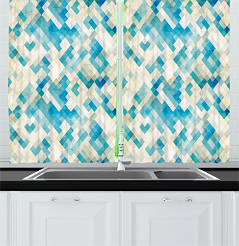 Ambesonne Geometric Kitchen Curtains, Blue Themed Hexagonal Shaped Abstract Modern Grunge Art Print, Window Drapes 2 Panels Set for Kitchen Cafe, 55 W X 39 L Inches, White Cream Blue and Turquoise (Shaped Shade Hexagonal)