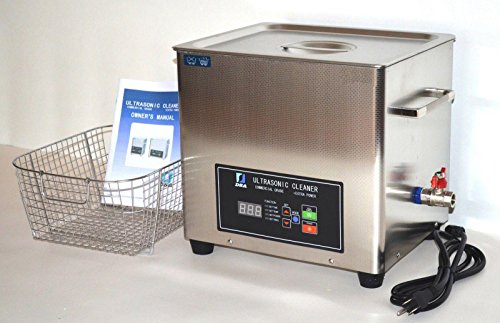 FULL SET: DSA280SE-GL2 14.5L (3.85GAL) 880 WATTS DUAL 20/40 KHz FREQUENCY DIGITAL HEATED INDUSTRIAL STAINLESS STEEL ULTRASONIC PARTS CLEANER MACHINE WITH INBOARD BASKET, CLEANING RACK AND TOP COVER LID PROFESSIONAL USE