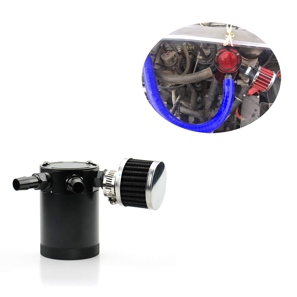 Tasan Racing Aluminum Compact Baffled 3 Port Oil Catch Can Reservoir Tank with Breather Filter