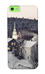 DOtgeM-306-UVvcB Graceyou Awesome Case Cover Compatible With Iphone 4/4s - Winter Snow Town Church