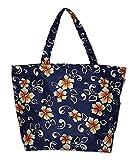 Cheap Hawaiian Print Medium Sized Beach Bag Tote (Navy – Hibiscus)