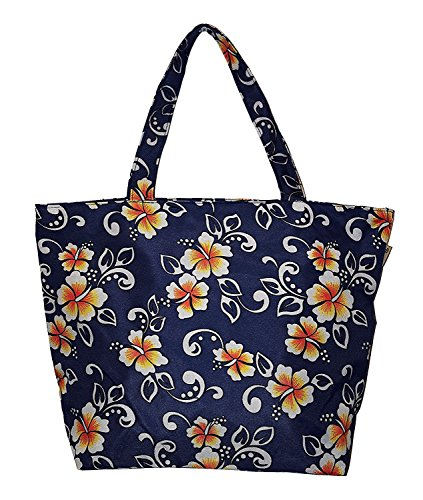 (Hawaiian Print Medium Sized Beach Bag Tote (Navy -)