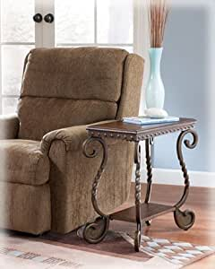 Signature Design by Ashley Metal Chairside End Table in Dark Brown