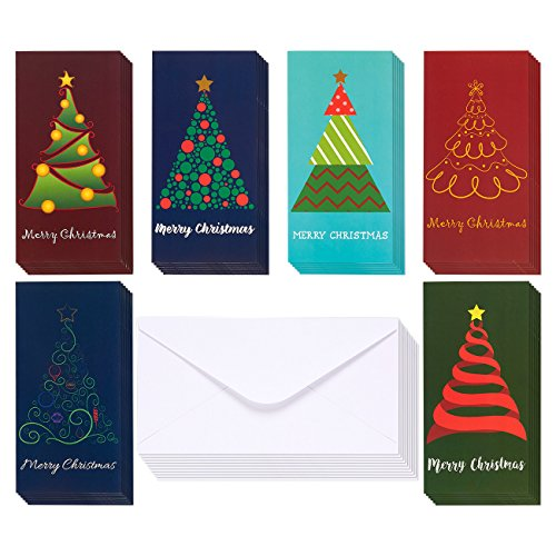 36-Pack Merry Christmas Greeting Cards - Xmas Money and Gift Card Holder Cards in 6 Christmas Tree Designs, Bulk Assorted Winter Holiday Cards Box Set with Envelopes Included, 3.6 x 7.25 Inches