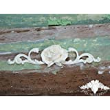 Shabby Chic Moulding Applique Large Rose and Scrolls Decorative Furniture Trim Embellishment Onlay by Chic Mouldings