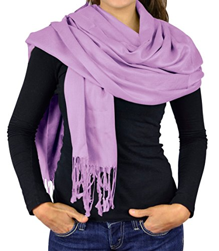 Women Scarf Viscose Pashmina Scarves For Women / Shawl Wrap - Solid Colors Scarves For Women - Lavender (Lavender Silk Scarf)