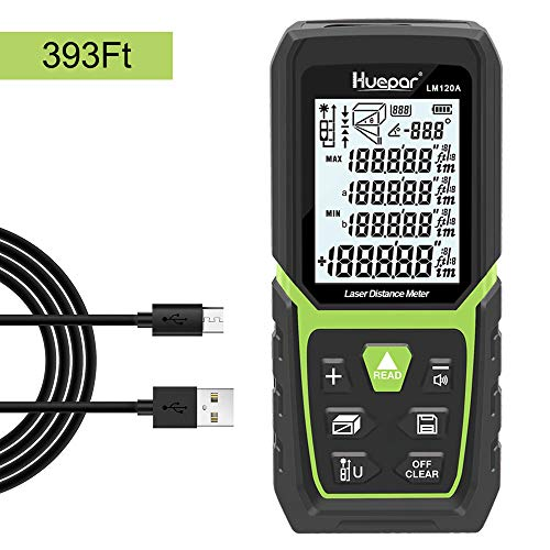 Huepar Laser Distance Meter 393Ft with Li-ion Battery & Electric Angle Sensor, Backlit LCD Laser Measure M/In/Ft with High Accuracy Multi-Measurement Modes, Pythagorean, Distance, - Electric Laser