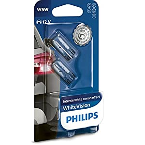 Philips WhiteVision Xenon Effect W5W Car Bulb 12961NBVB2, Double Blister