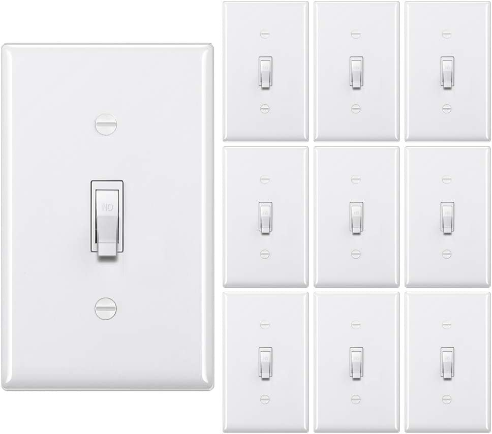 [10 Pack] BESTTEN Single-Pole Toggle Light Switch with Wallplate, 15A 120-277V, UL Listed, White