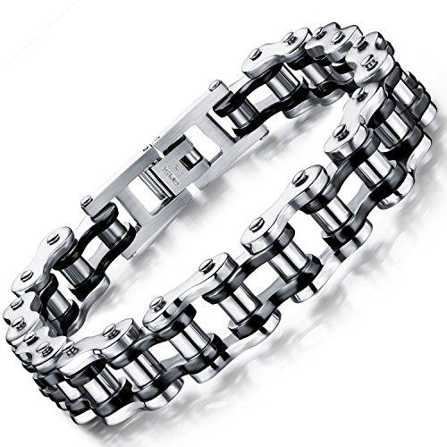 Ostan Men's stainless steel Chain Link Bracelet Bike wrist (Black Silver)