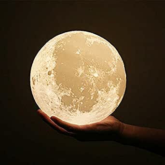 Seetop 3D Printing Moon LED Lamp Night light USB Rechargeable Smart Switch Touch 2 Colors Brightness Luna Decorative Light Wooden Mount Holder for Wedding Christmas Gift Girl Kid Baby (13CM 5.1inch)