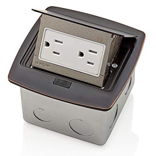 Leviton PFTR1-BZ Pop-Up Floor Box with 15 Amp, Tamper-Resistant Outlet, Bronze,