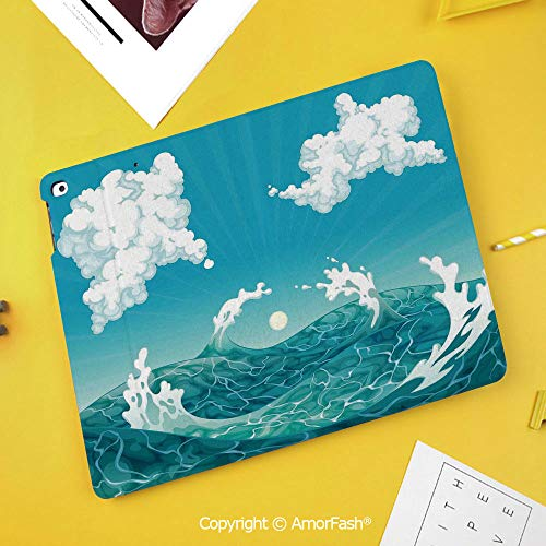 Printed Case for Samsung Galaxy Tab S4 10.5 SM-T830 T835 T837 Tablet Kids Safe,Nice,Foamy Ocean Waves with Fluffy Clouds in Air Sun Summer Sea Display,Sky Blue White Turquoise (Harga Samsung Galaxy Tab S3 7 Inch)