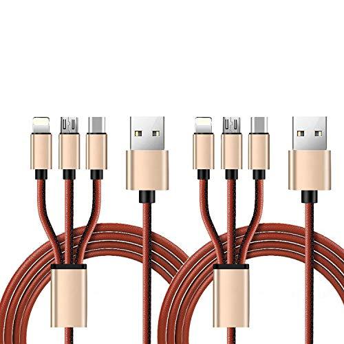 マルチUSB充電ケーブルLightningケーブルUSB Type-Cケーブル-Microfiberレザー(3.28FT)USB 3A高速充電ケーブルアダプター、USB Type C/Micro USBコネクター、iPhone 8,8 Plus、7、7 Plus、6、6splus、Samsung、 携帯電話タブレットなど (ブラウン 2 本の根)