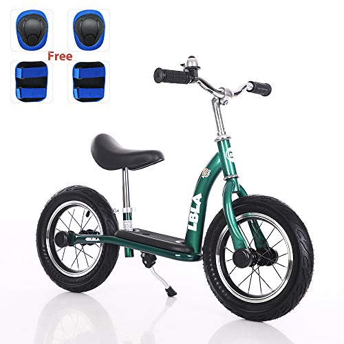 Kids Balance Bike, No Pedal Toddler Bike with Carbon Steel Frame Adjustable Handlebar and Seat 12inch Toddler Walking Bicycle for Kids 2 to 6 Years Old (Green)