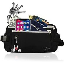 Pacasso RFID Blocking Money Belt- Hidden Travel belt- Passport/Card Belt -Running/Fitness Belt- Ideal for Women or Men