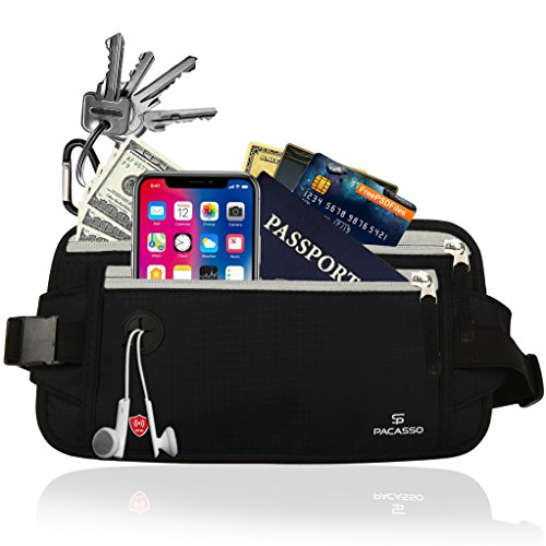 Pacasso RFID Blocking Money Belt- Hidden Travel belt- Passport/Card Belt- Ideal for Women or Men-Black