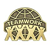 PinMart's Antique Bronze Teamwork Globe Lapel Pin