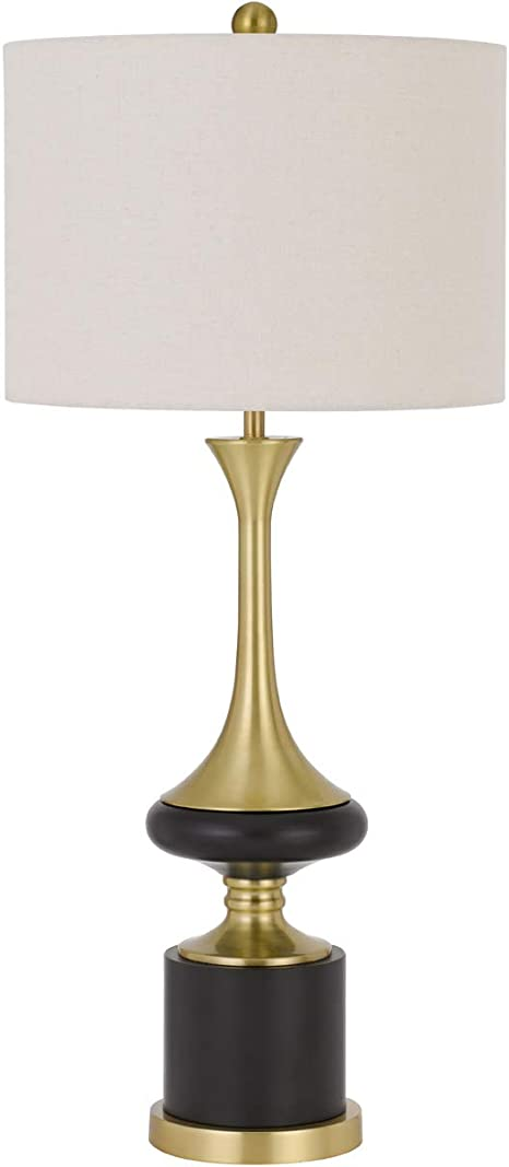 150w 3 Way Kevil Metal Table Lamp With Hardback Drum Fabric Shade