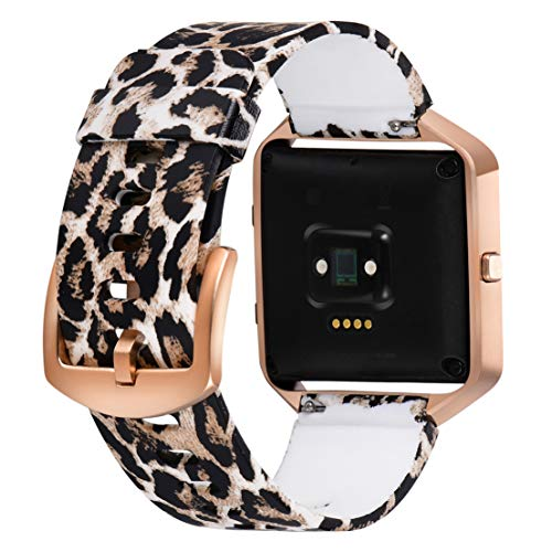 Aiseve Fitbit Blaze Floral Bands Women, Replacement Wristbands Strap with Rose Gold Frame Buckle for Fitbit Blaze Smartwatch Small Large (Leopard, Small)
