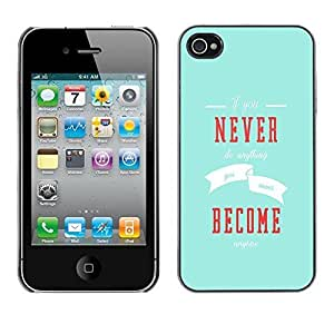 iphone covers New Fashion Case BLOKK case cover / Apple Iphone 6 4.7 / never become inspiring message blue modern / Slim qGAUkC6ke5A Black Plastic case cover case cover Armor