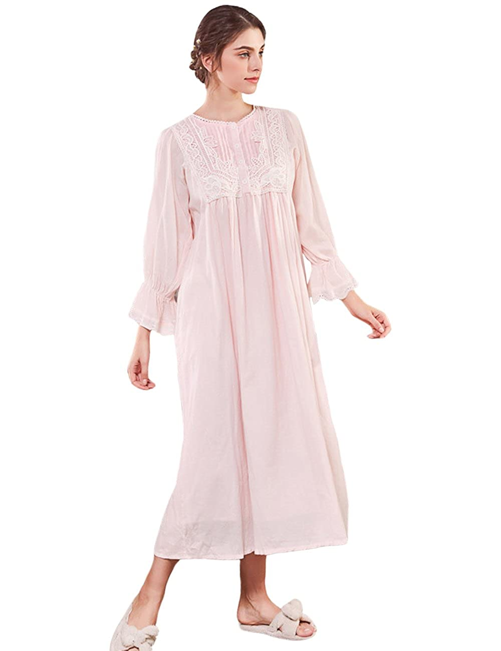AIKOSHA Womens Retro Victorian Style Cotton Nightie Long Flare Sleeve Full Length Nightdress