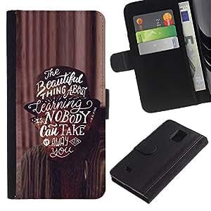 KingStore / Leather Etui en cuir / Samsung Galaxy Note 4 IV / Texte Inspiring motivation