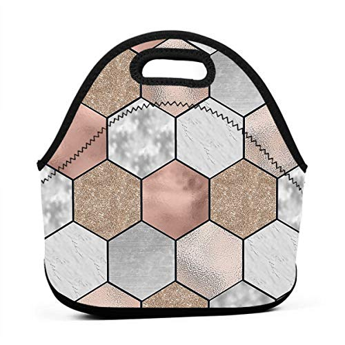 (Lunch Bag - Rose Gold Marble Texture Geometry Food Container Organizer for Office School Work, Women Men Kids Girls Boys Lunch Holder Totebag Reusable Leakproof Grocery Container)