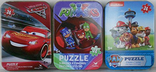 Bundle Set of 3 Kids Mini Jigsaw Puzzles: Featuring PJ MASKS (Catboy Gekko Owlette), CARS 3 (Lightning McQueen) and PAW PATROL (24 Pieces each) in Collectible Illustrated Travel Tins -