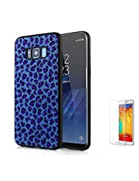 For Samsung Galaxy S8 Plus Case [with Free Screen Protector],Funyee New Creative Leopard Print Plush Flexible Soft TPU Silicone Shockproof Ultra Thin Durable Phone Case for Samsung S8 Plus,Blue