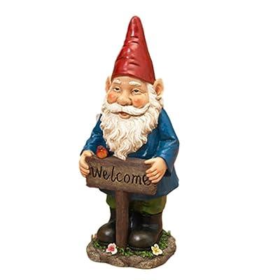 """17"""" Happy Garden Gnome Holding a WELCOME Sign with Flowers and a Bird Patio Porch Garden Decor ~ Resin : Garden & Outdoor"""