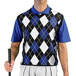 GolfKnicker Argyle V-Neck Golf Sweater Vests: Mens - Pullover - Black/Royal/White - Large
