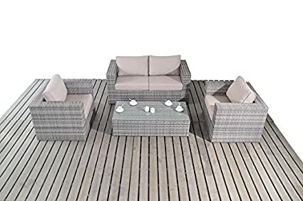 Moderno Pequeño jardín de ratán conjunto de sofás, cojines ...