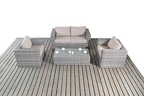 Moderne Kleine Rattan Garten Sofa Set 2 Sitzer Sofa Mit 2 Sesseln