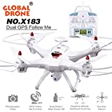 Global Drone X183 With 5GHz,WiFi FPV 1080P Camera ,GPS Brushless Quadcopter Flying Time15-20mins ,5.8G Real-Time Transmission Function-MOONHOUSE (White)