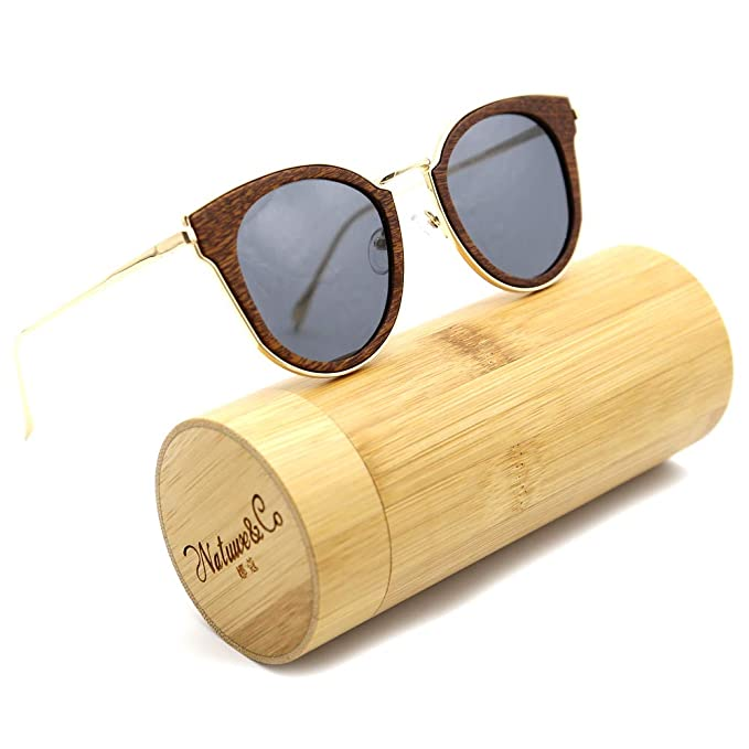 53d13c70301 Natwve Co Wooden Bamboo Sunglasses 2018 Fashionable Polarized Lens With  Metal Temple For Men Women (Brown