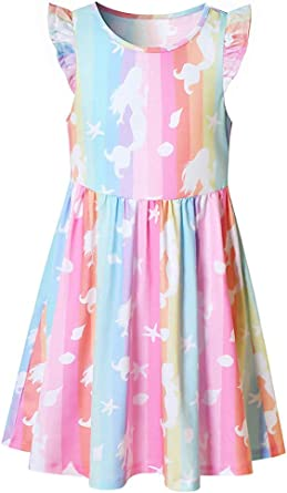 Kids Girls Unicorn Sleeveless Sundress Holidays Tunic A-Line Mini Dresses 4-9 Y