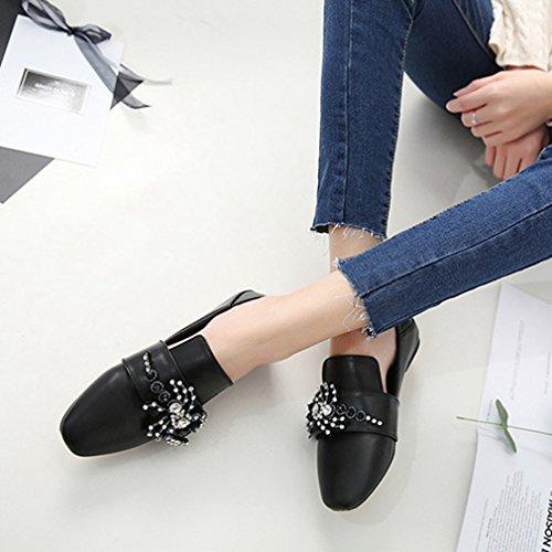 Giy Kvinners Mote Penny Loafers Flat Rhinestone Firkantet Tå Slip-on Klassisk Kjole Uformell Loafer Sko Svart
