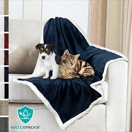 PetAmi Premium Waterproof Soft Sherpa Pet Blanket by Cozy, Comfortable, Plush, Lightweight Microfiber, 100% WATERPROOF (30
