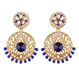 I Jewels Gold Plated Earrings For Women E2345Bl (Blue)