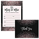 Miss to Mrs Invitations ( 25 ) & Thank You Notes ( 25 ) Set with Envelopes Bridal Shower Guest Invites Pink Confetti Design Fill-in-Style & Blank Folded Gift Thank You Cards Excellent Value Pair
