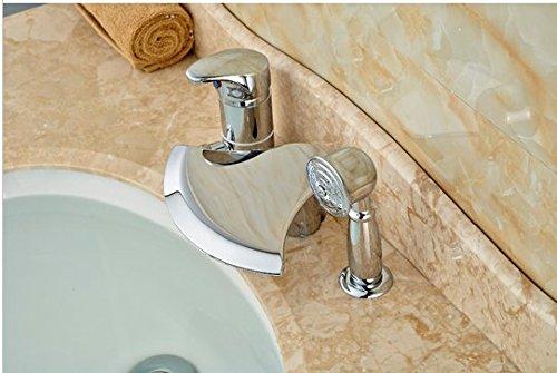 GOWE Polished Chrome Brass Bathroom Tub Faucet 3 PCS Vessel Sink Mixer Tap W/ Hand Shower 1