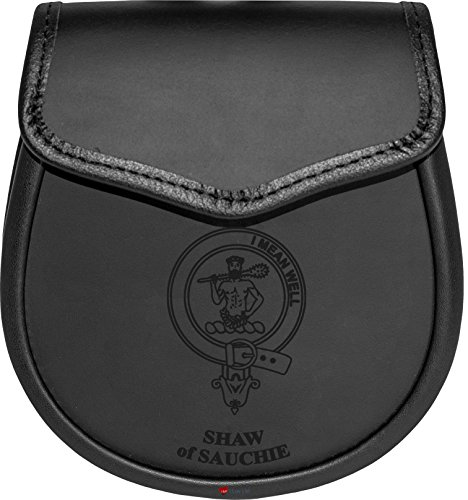 Shaw of Sauchie Leather Day Sporran Scottish Clan Crest